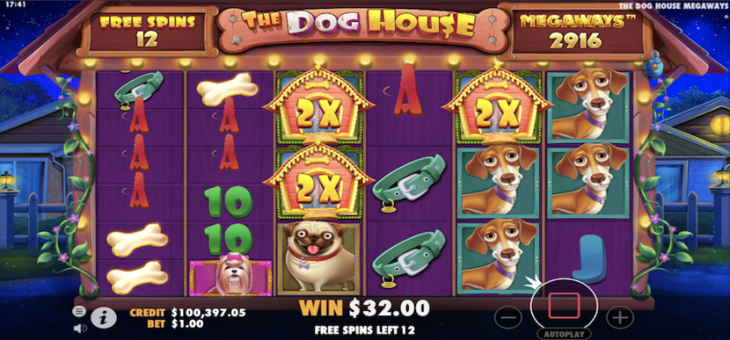 The Dog House Megaways Raining Wilds Free Spins