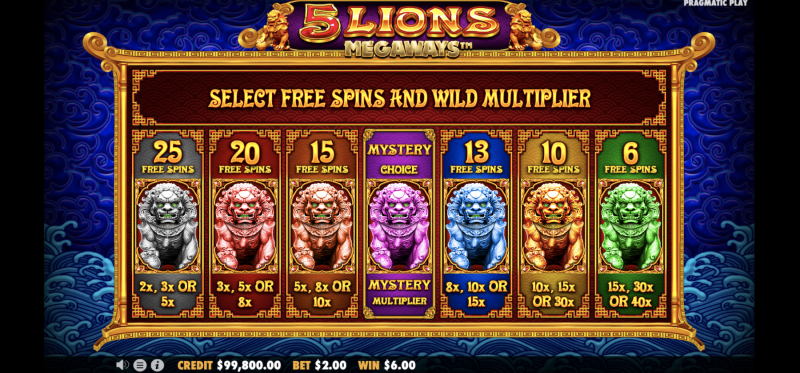 5 Lions Megaways - Free Spins Options